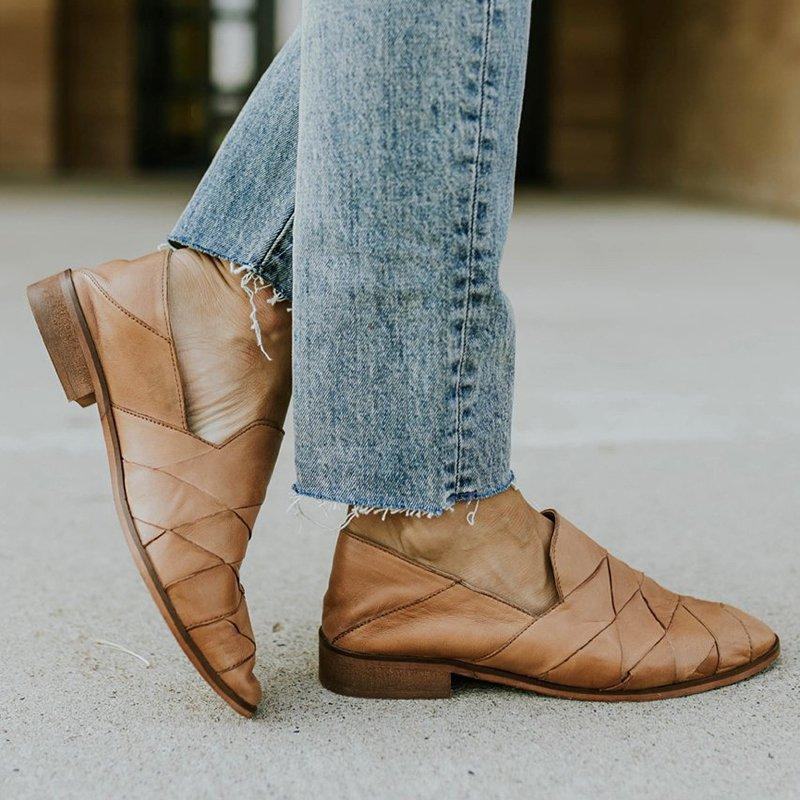 Tan Flat Heel PU All Season Daily Shoes