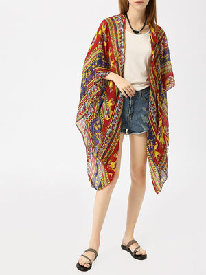 Elephant Print Beach Cover-up Bohemia Cardigan