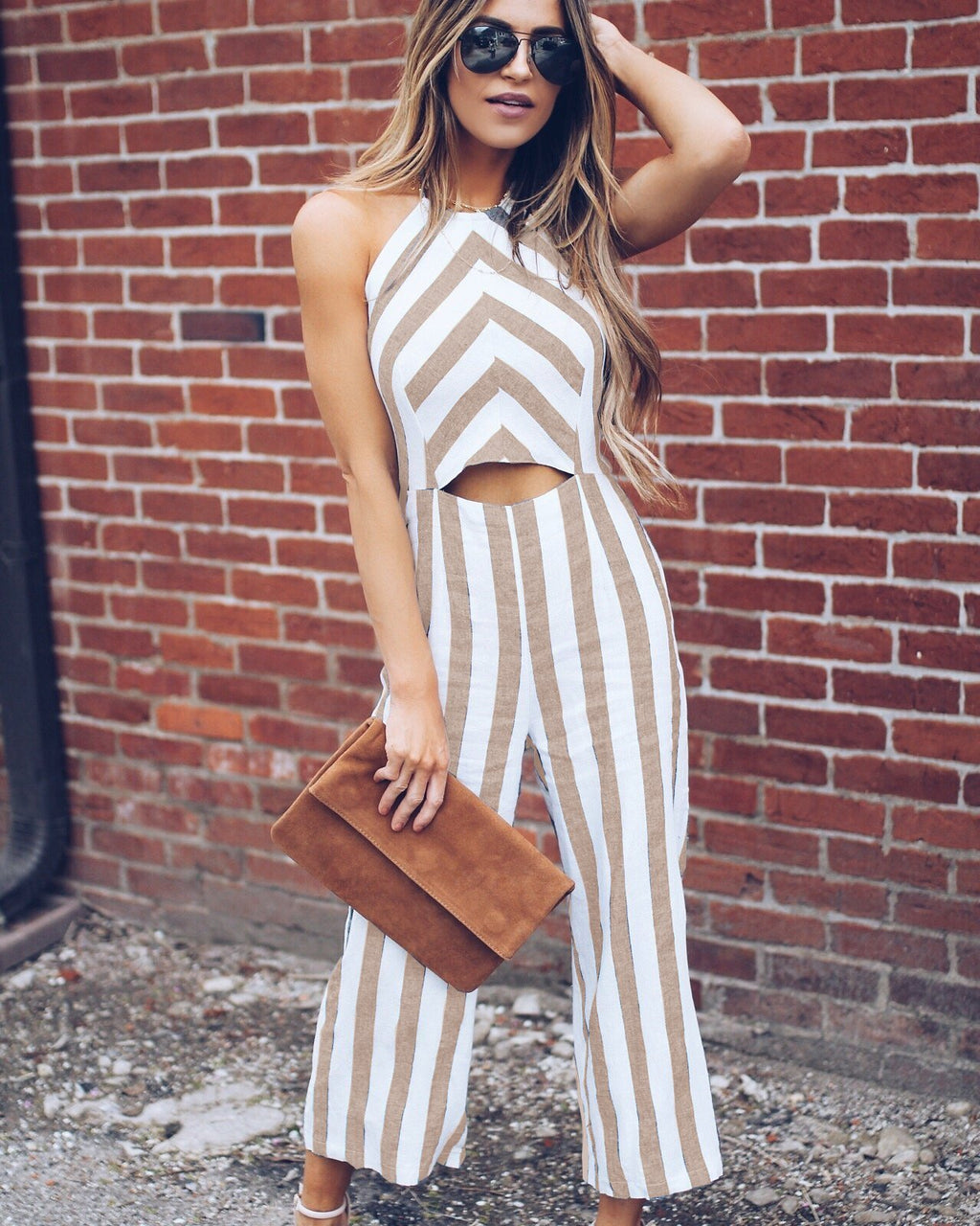 Khaki Striped Halter Sleeveless Long women Sexy Jumpsuit