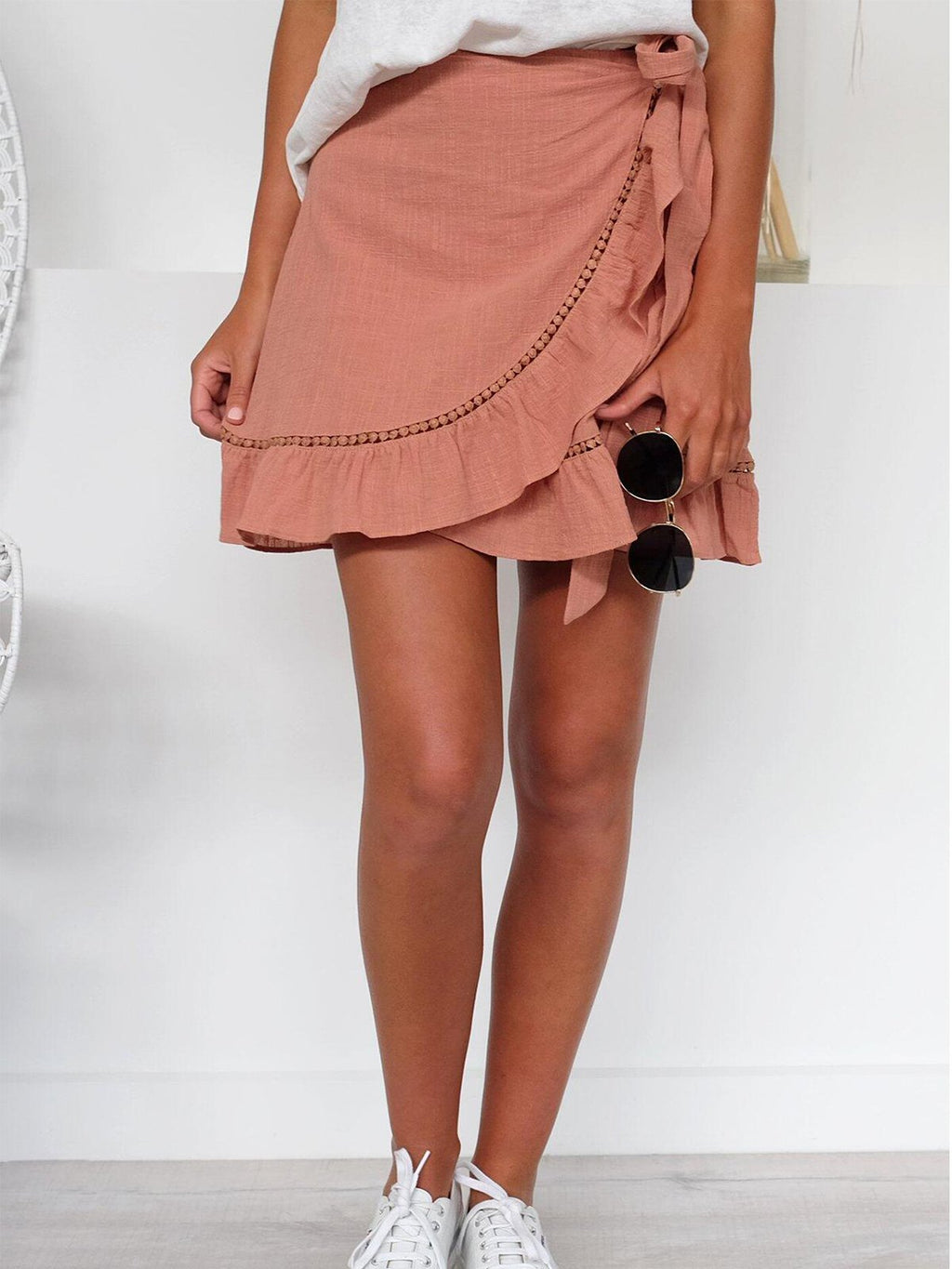 Solid Wrap Self-tied Waist Mini Skirt