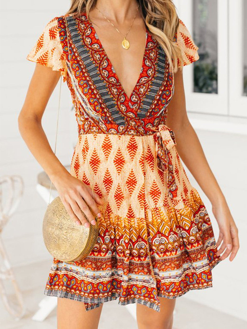 Bohemia Printing V Neck Beach Holiday Dress