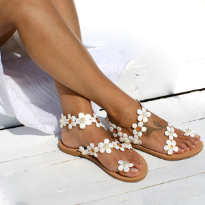 Casual Slip On Shoes Women Flower Sandals