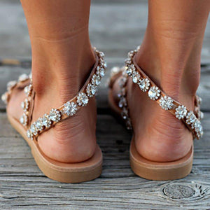 Summer Women Brown Flower Casual PU Sandals