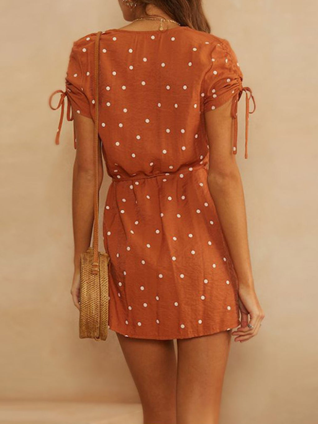 Polka Dot Print Wrap Bow-tied Sleeve Holiday Mini Dress