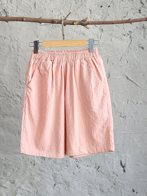 Solid With Elastic Waist Casual Pirate Linen Shorts