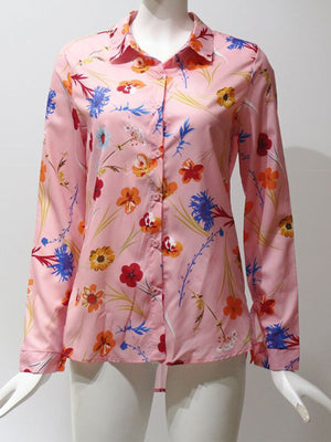 Casual Floral Print Long Sleeve Lapel Shirt