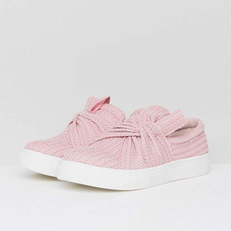 Women Shoes Knitted Twist Pink Slip On Sneakers