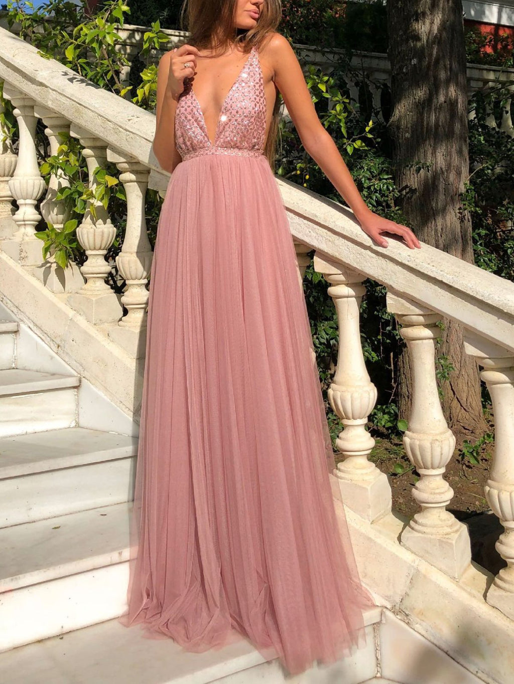 Elegant Spaghetti Sleeveless Maxi Evening Dress