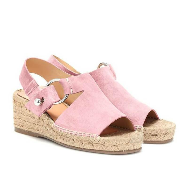 Flocking Upper Straw-weaved Platform Wedges Sandals