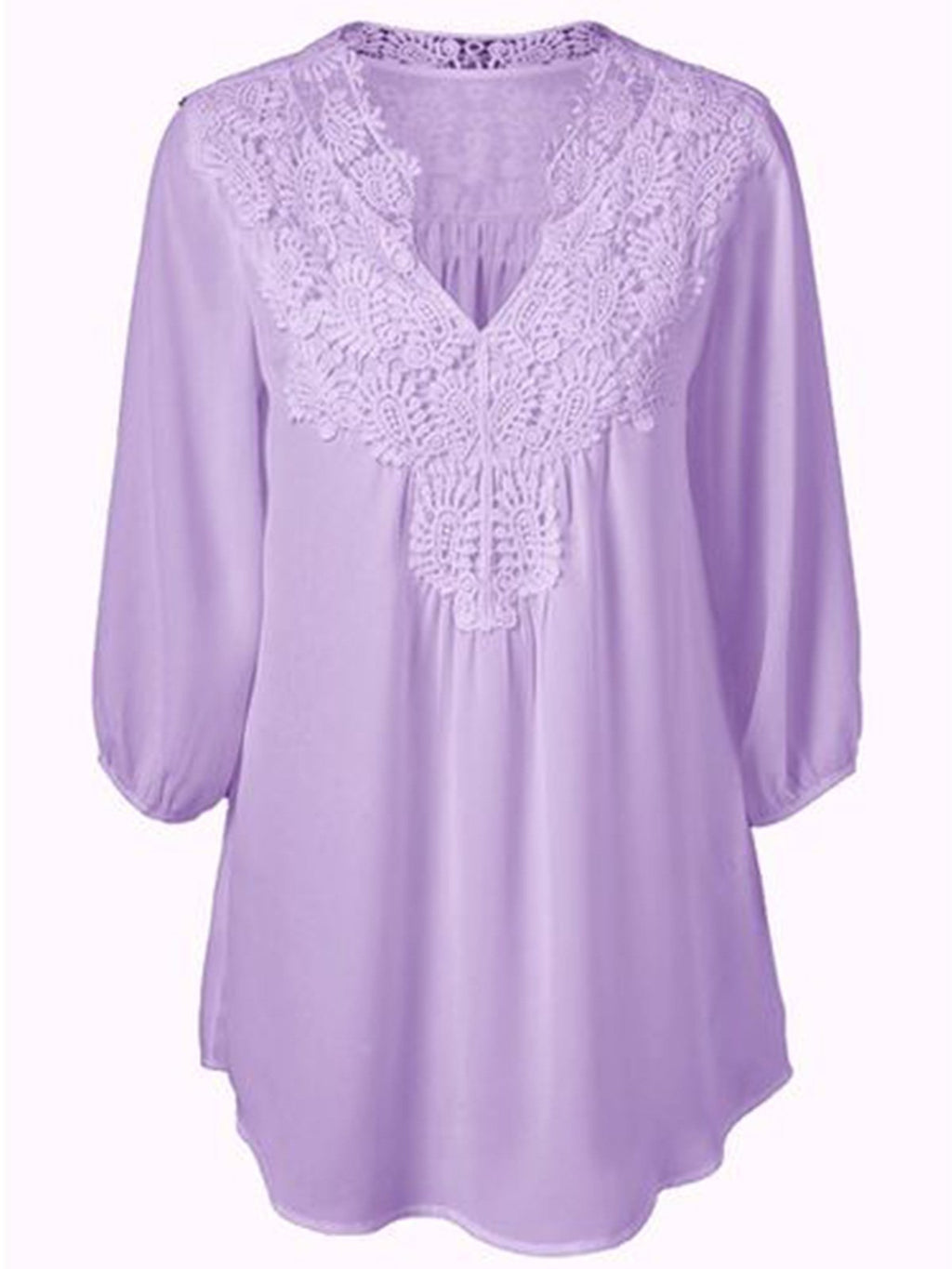 Loose Women Chiffon V Neck Lace Joint Blouse