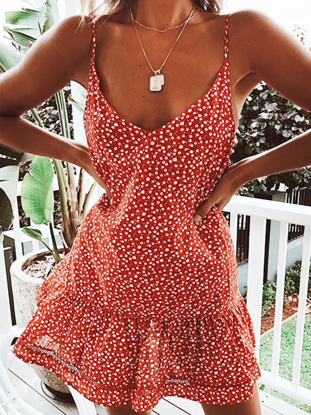 Red Dense Flower Print Spaghetti Ruffle Hem Summer Dress