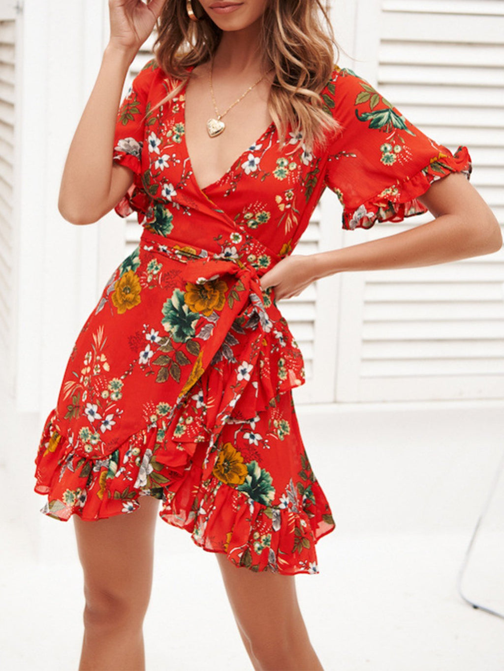 Floral Print Wrap V Neck Belted Mini Dress