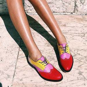 Color Block Pu Chic Laser Cut Slip-On Flats