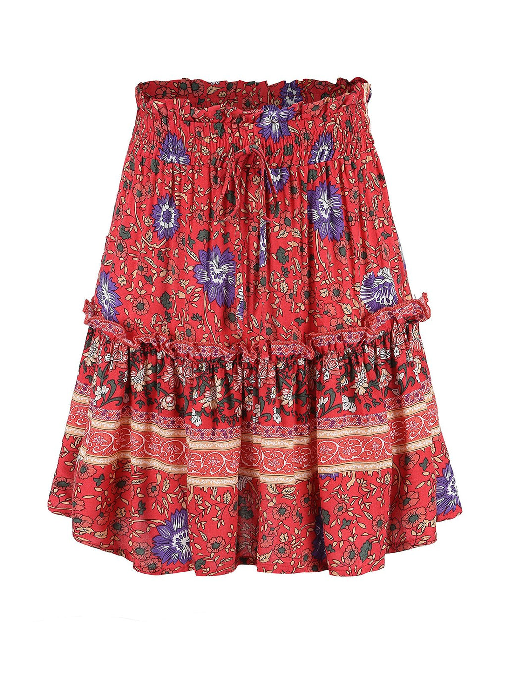 Adjustable Waist Loose Bohemia Style Print High Rise Skirts