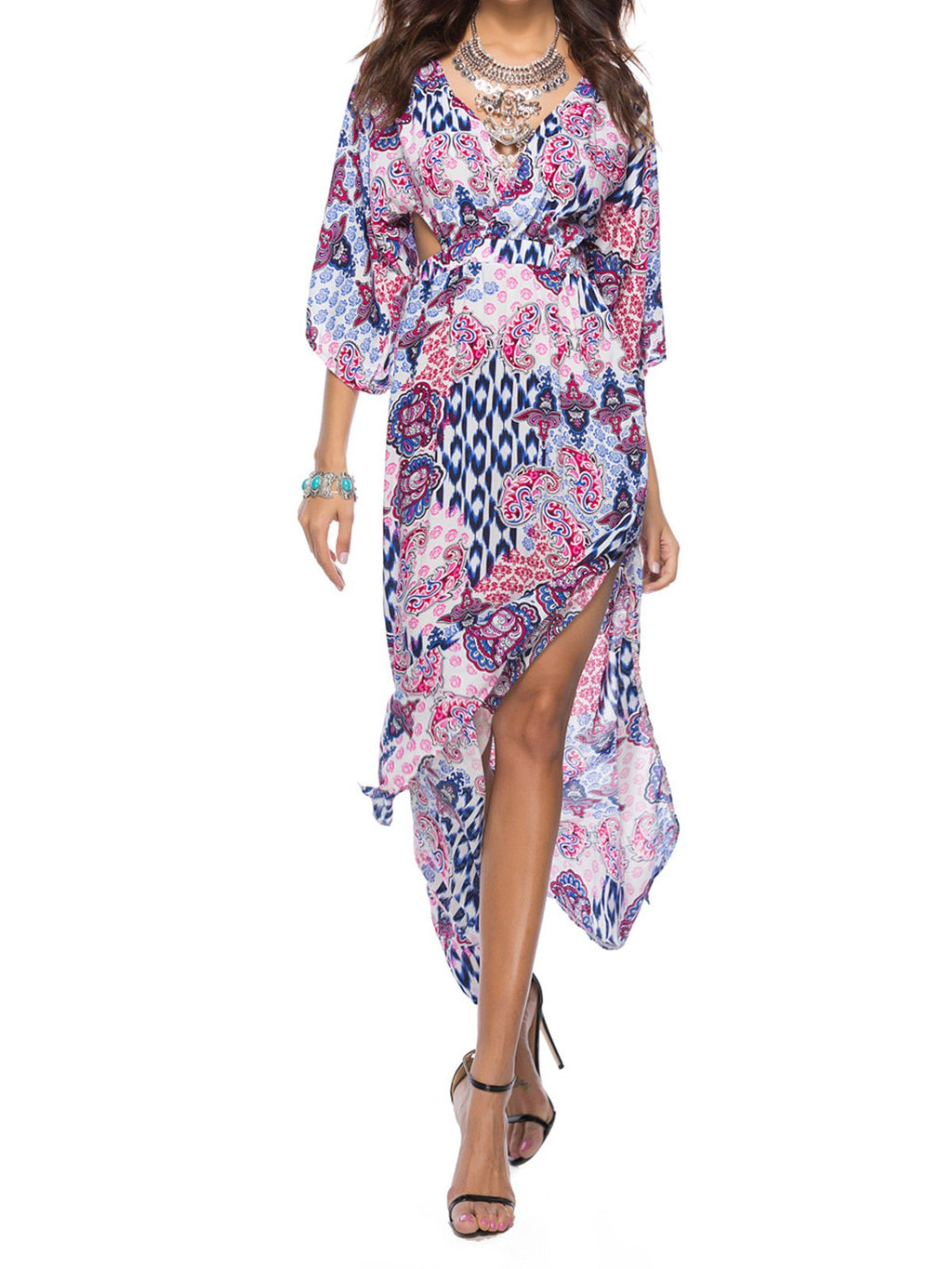 Bohemia Slit Backless Batwing Sleeve Printed Maxi Holiday Dress