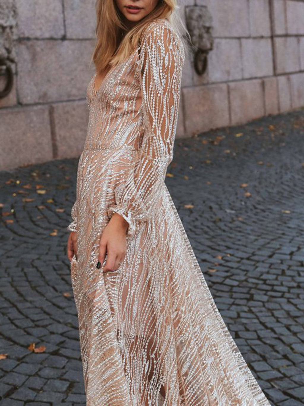 Deep V Neck Long Sleeve Slim Sweeping Hem Maxi Dress