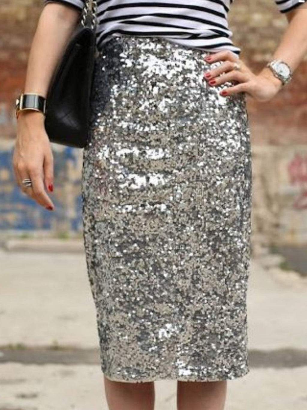 Sliver Paillette Tight Buttock Skirt