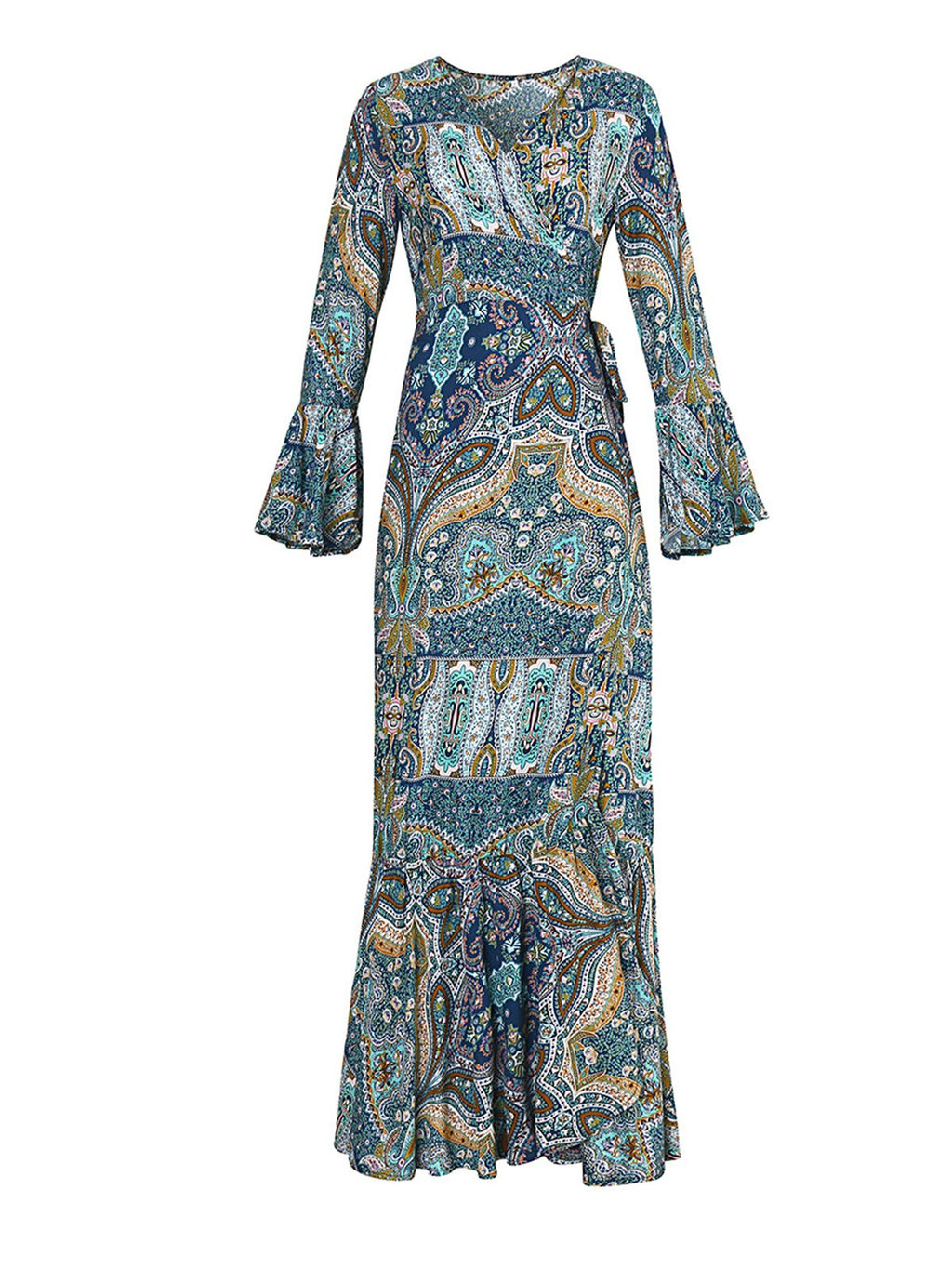 Long Sleeve Blue Boho Print Beach Maxi Slit Dress