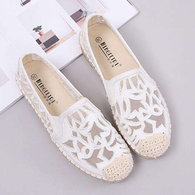 Straw-weave Sole Hollow Fashion Lofters