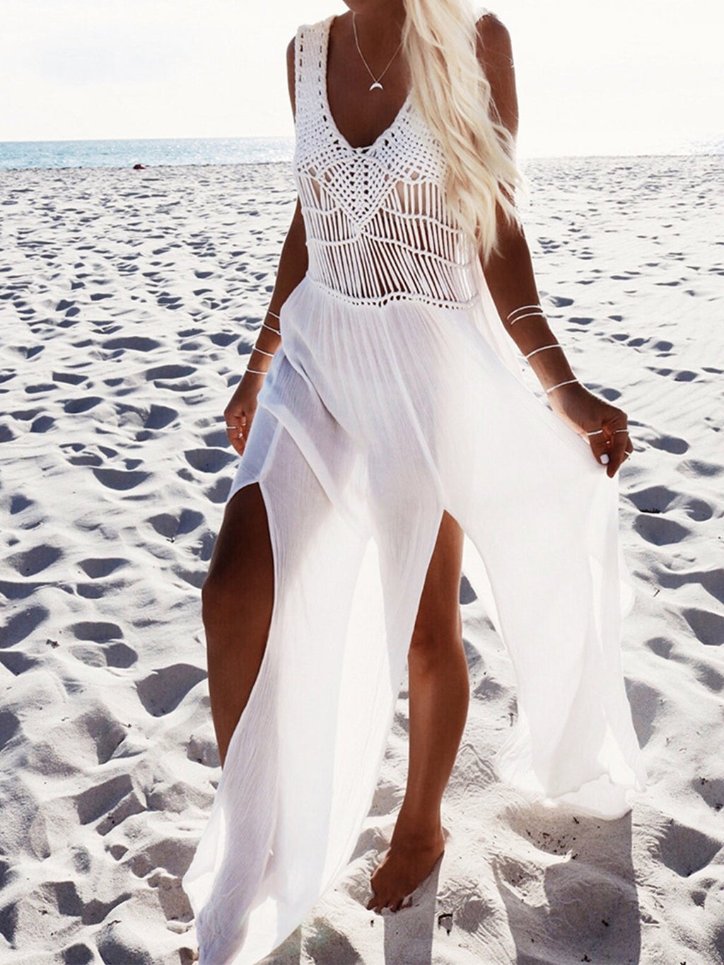 White Chiffon Hollow Beach Cover-up Dress
