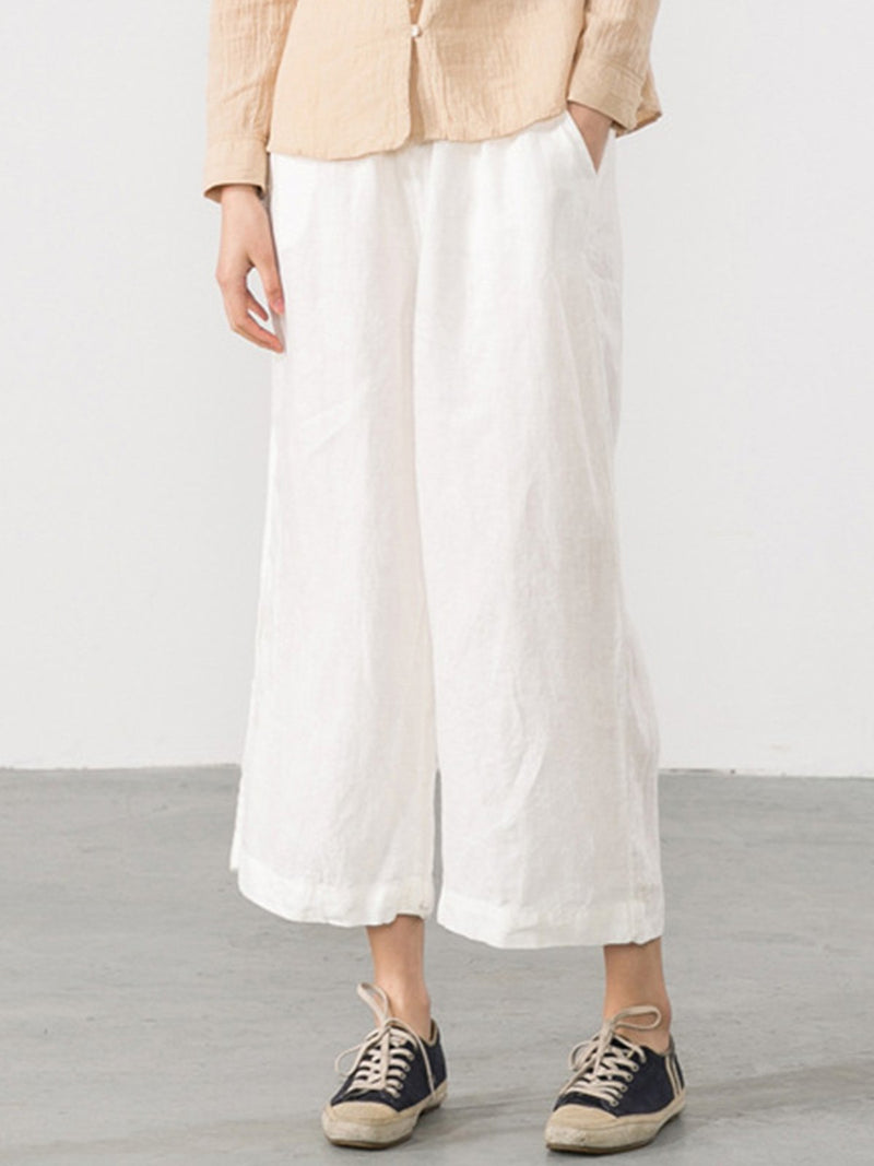 Pockets Wide Leg Solid Pants