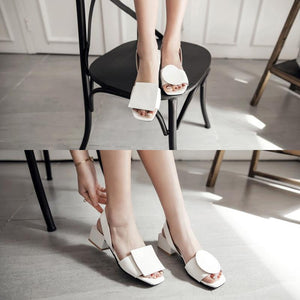 Fashion Women PU Chunky Heel Casual Sandals