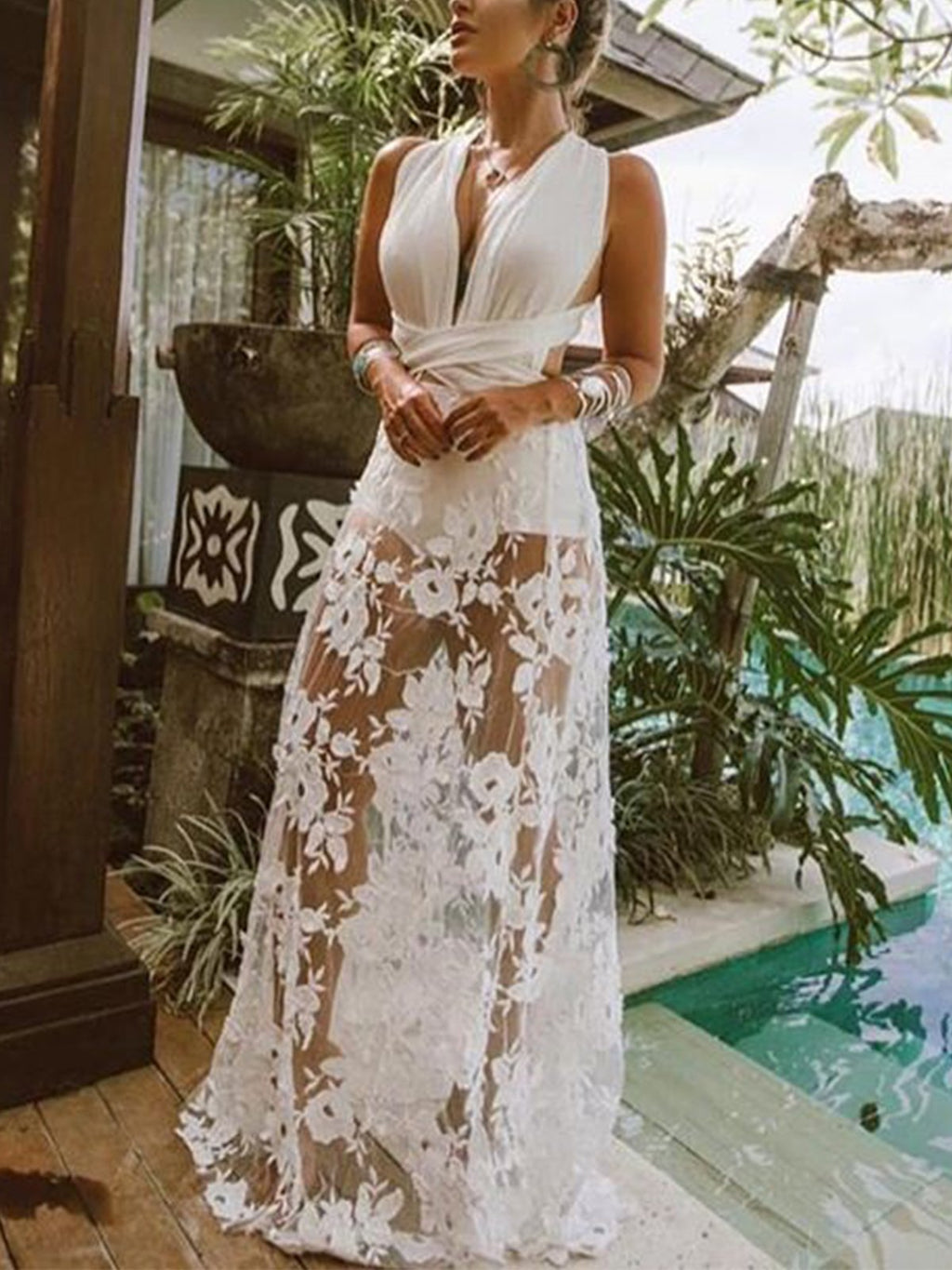 See-through Crochet Sweeping Hem Beach Hollow Maxi Dress