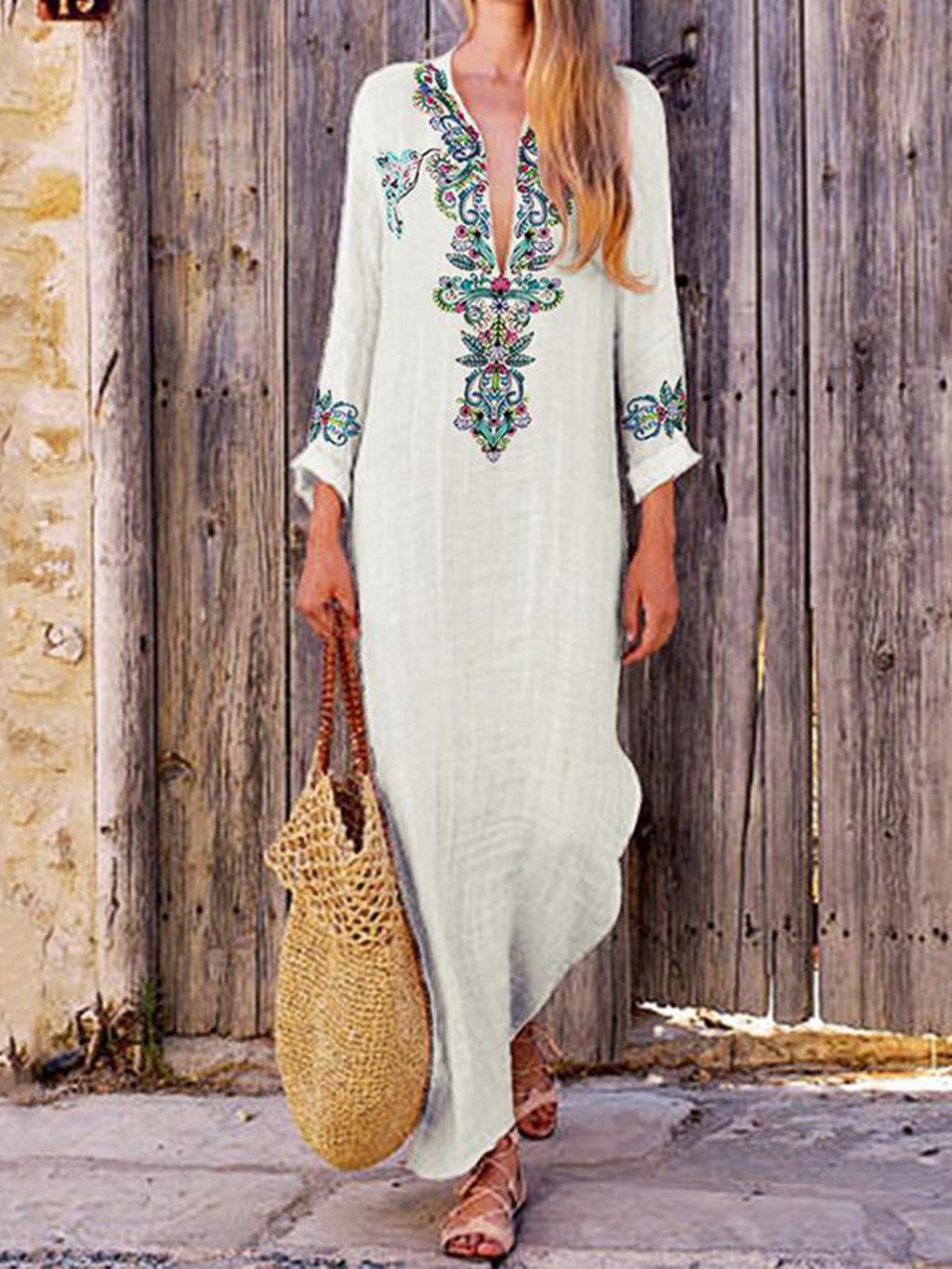 V Neck Print Long Sleeve Flok Style Maxi Dress