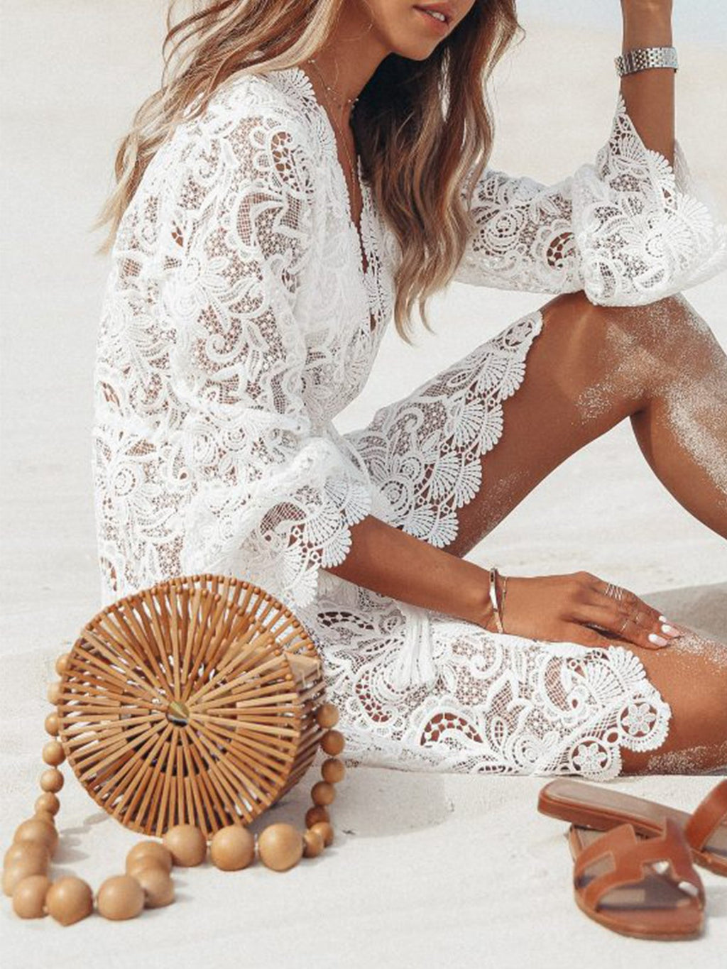 White Sexy Lace Long Sleeve V Neck Dress