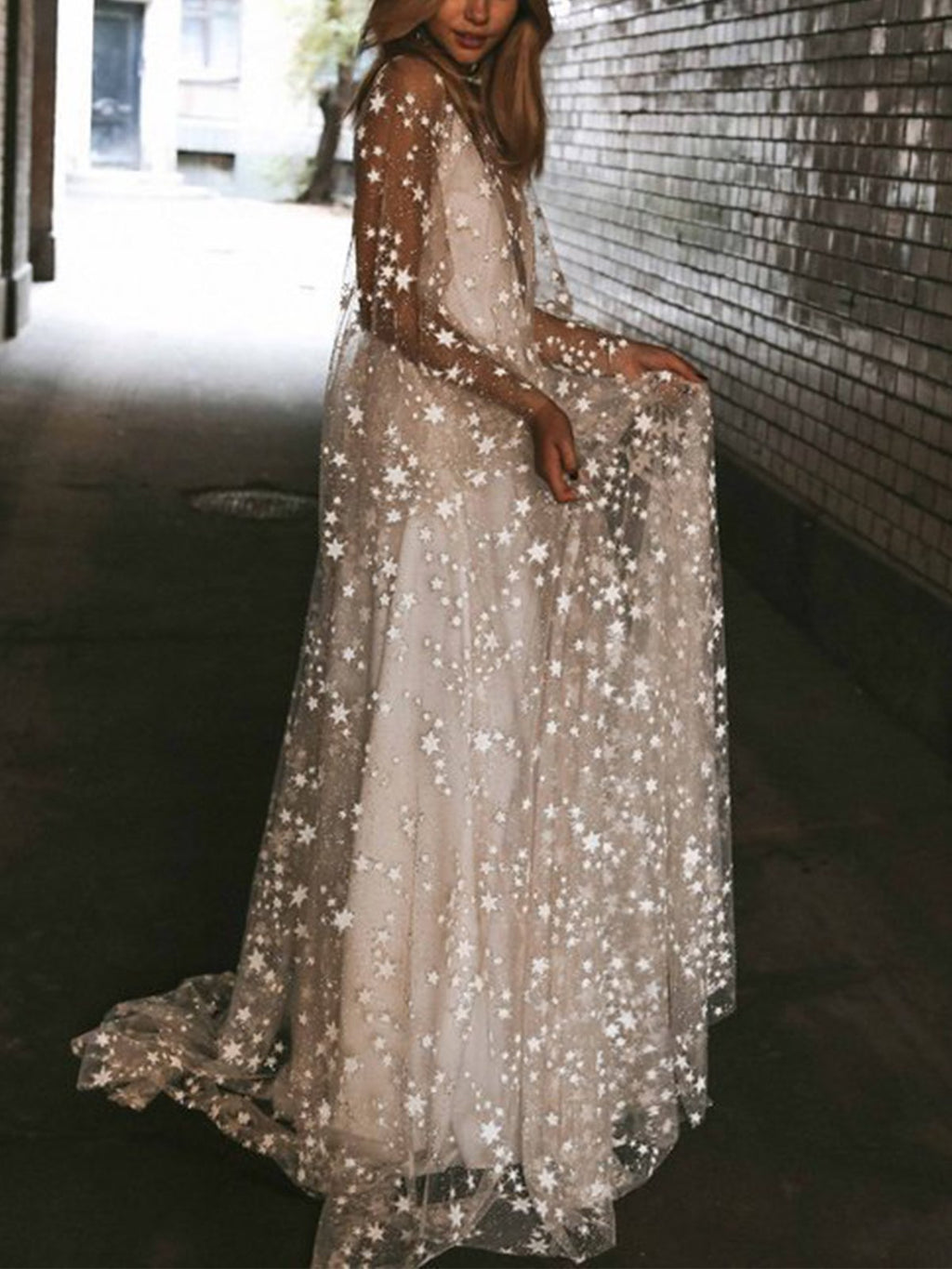 Star Pattern Crochet See-through Backless Vintage Maxi Mesh Dress