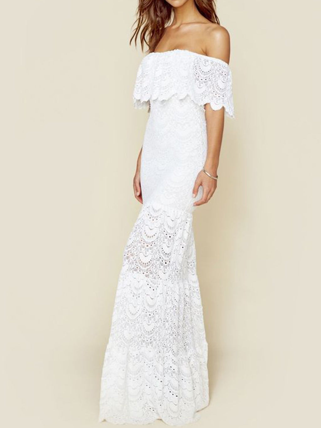 Lace Off-shoulder Sheath Beach Maxi Dress