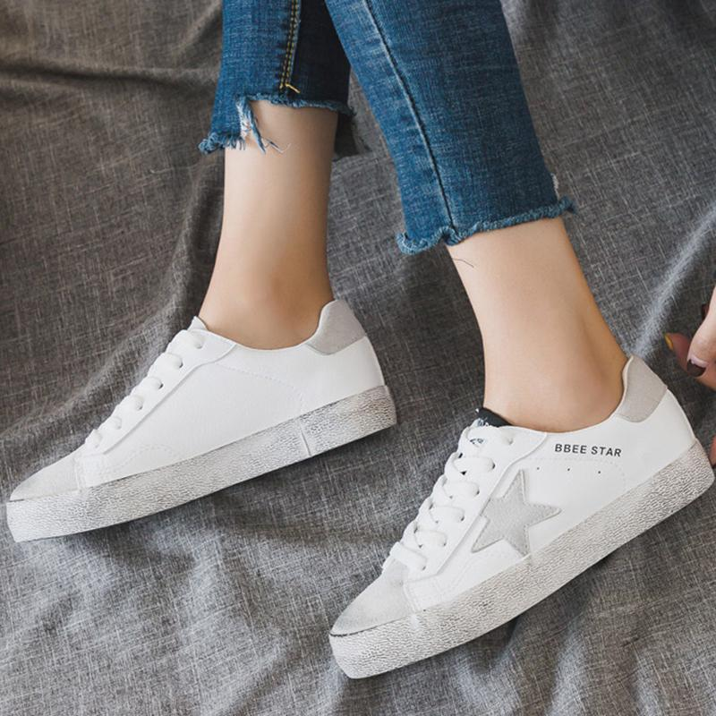 PU Upper Star Trimmed Casual Flat Shoes