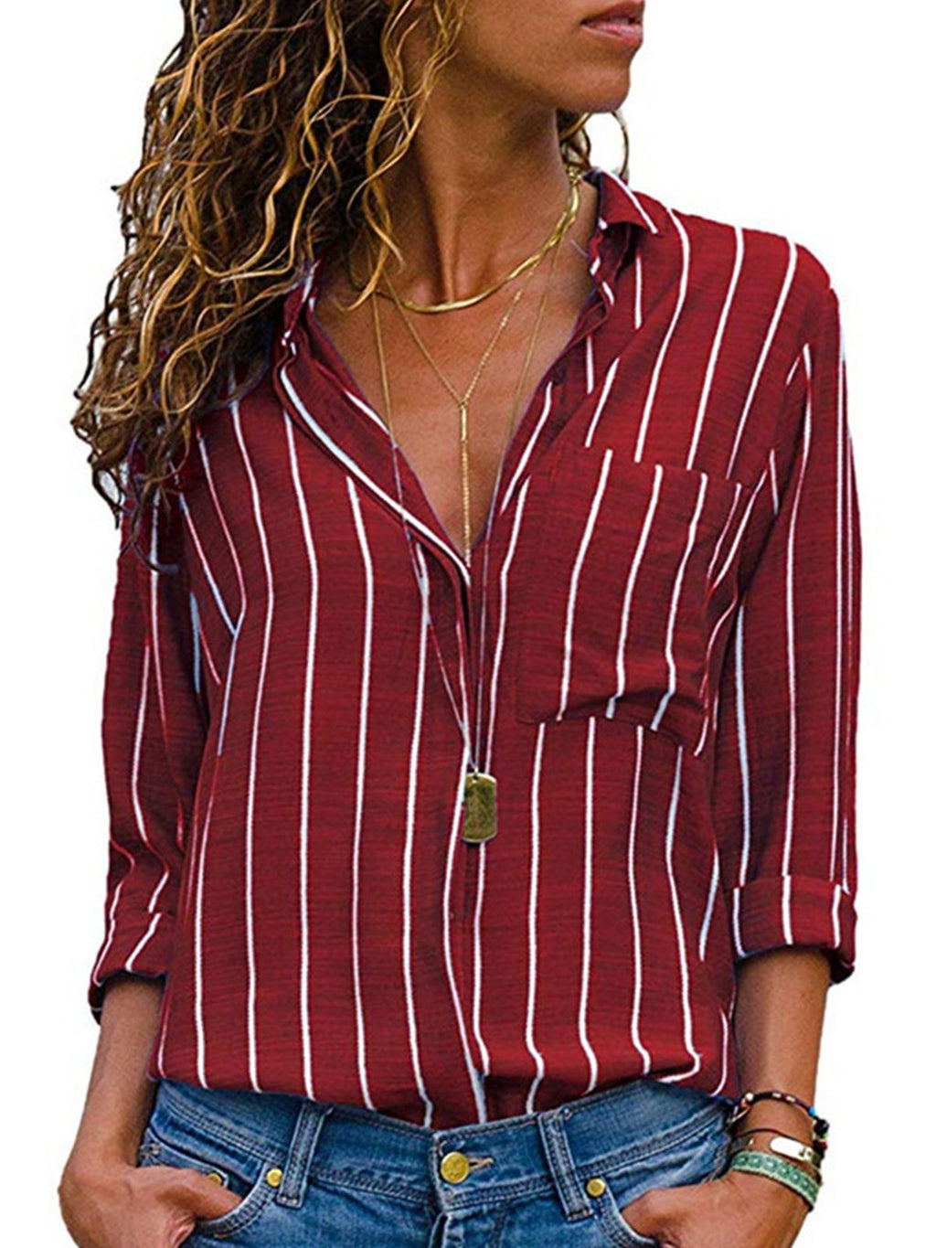 Women Stripe Long Sleeve Chiffon Shirt