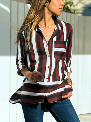 Casual Striped Paneled Pocket Chiffon Women Long Length Shirt
