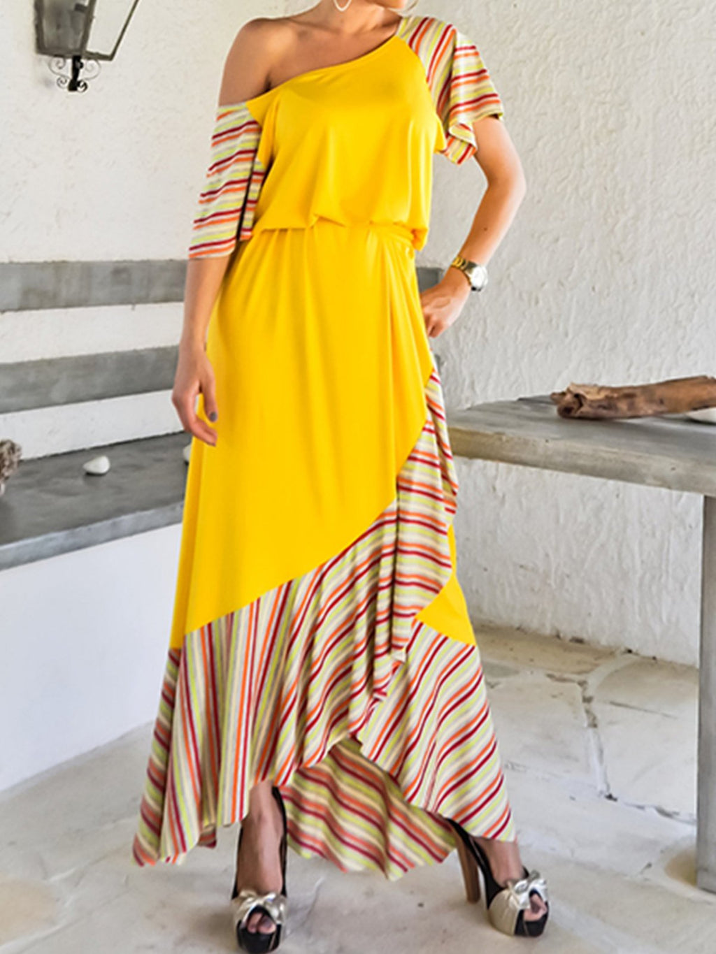 Yellow Color Block Stripe Print Short Sleeve Maxi Dress