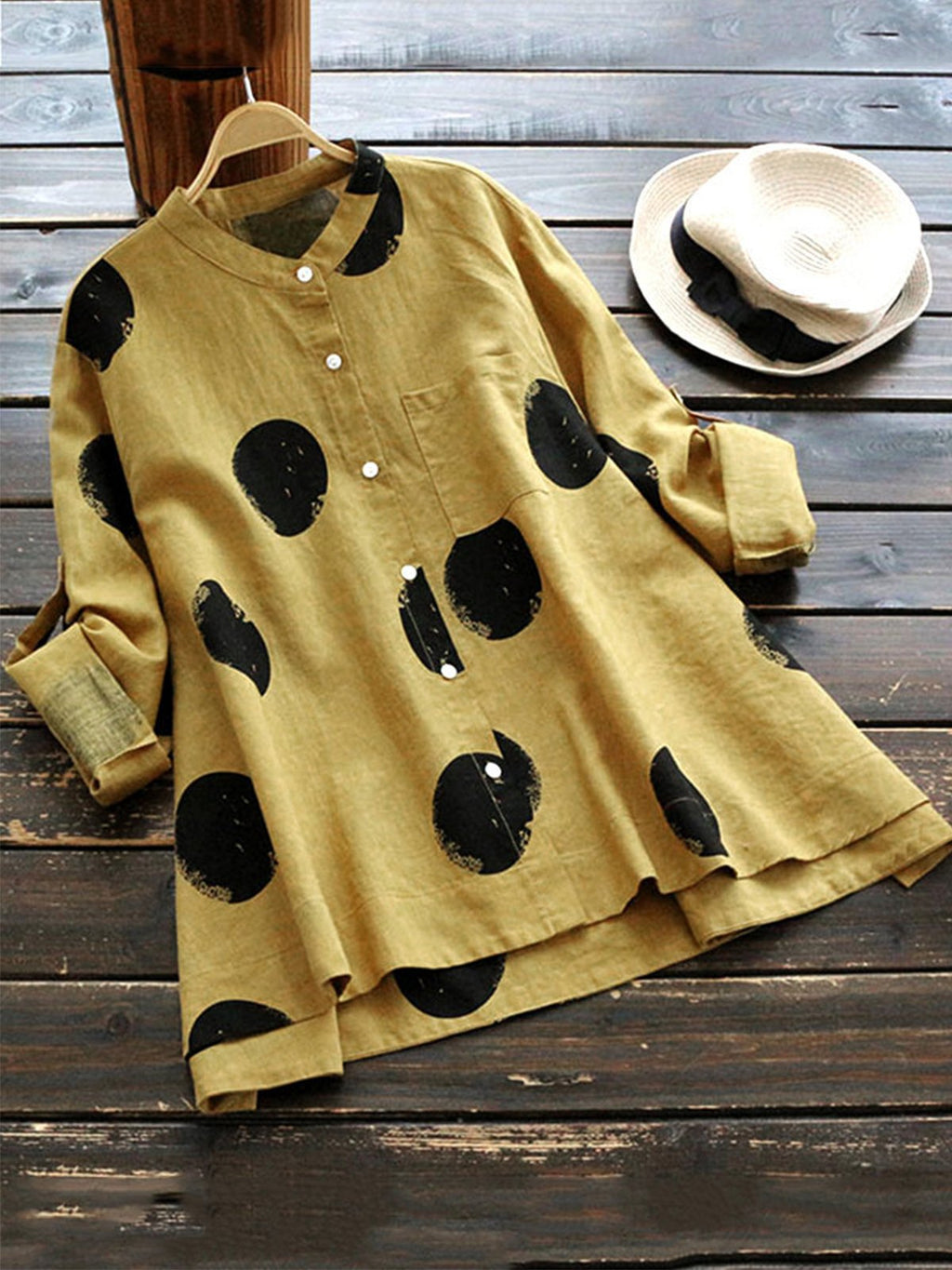 Stand Collar Long Sleeve Plus Size Dot Print Midi Shirt