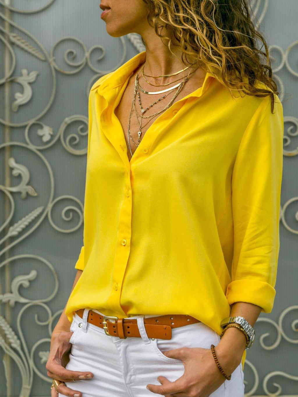 Ladies long sleeve chiffon blouse with stand-up collar