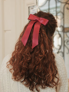 Barrette ruban satin bordeaux - Eline