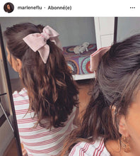 Barrette noeud en lin rose - Luca