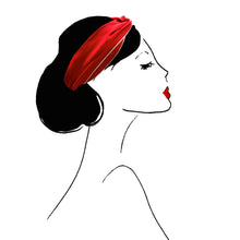 bandeau cheveux accessoire headband mode femme paris vintage look fashion scrunchie red rouge doré gold