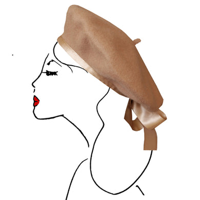 béret cheveux accessoire mode femme paris vintage look fashion scrunchie camel marron brown