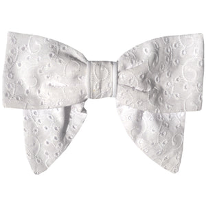 Barrette noeud broderie anglaise blanc - James