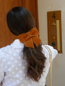 Barrette noeud velours camel - Roxane