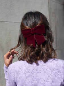 Barrette noeud velours violet - Anne