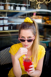 chouchou soi jaune bonbon banane liseré accessoires cheveux scrunchie accessories hair border yellow candy sweets banana