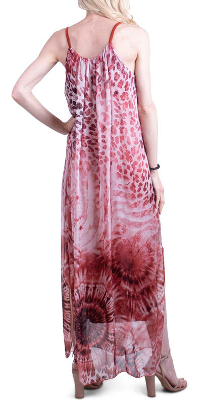 Tye Dye & Leopard Print Spaghetti Strap Side Slit Maxi Silk Dress
