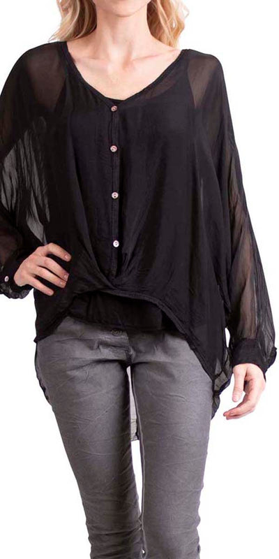2 pc silk Long Sleeve Blouse Button Down & Cross Over Front