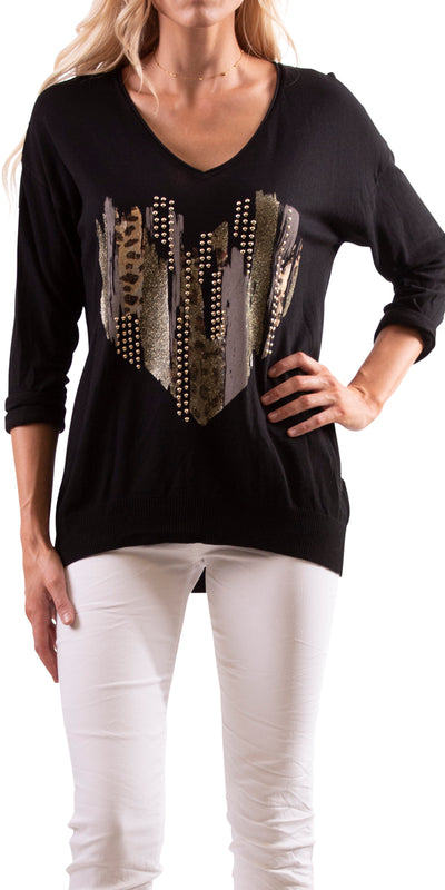 Cuore Studded Heart Sweater