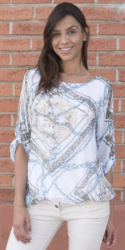 Chain Print Silk Top