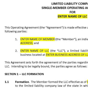 How Single Member Llc Operating Agreement can Save You Time, Stress, and Money.